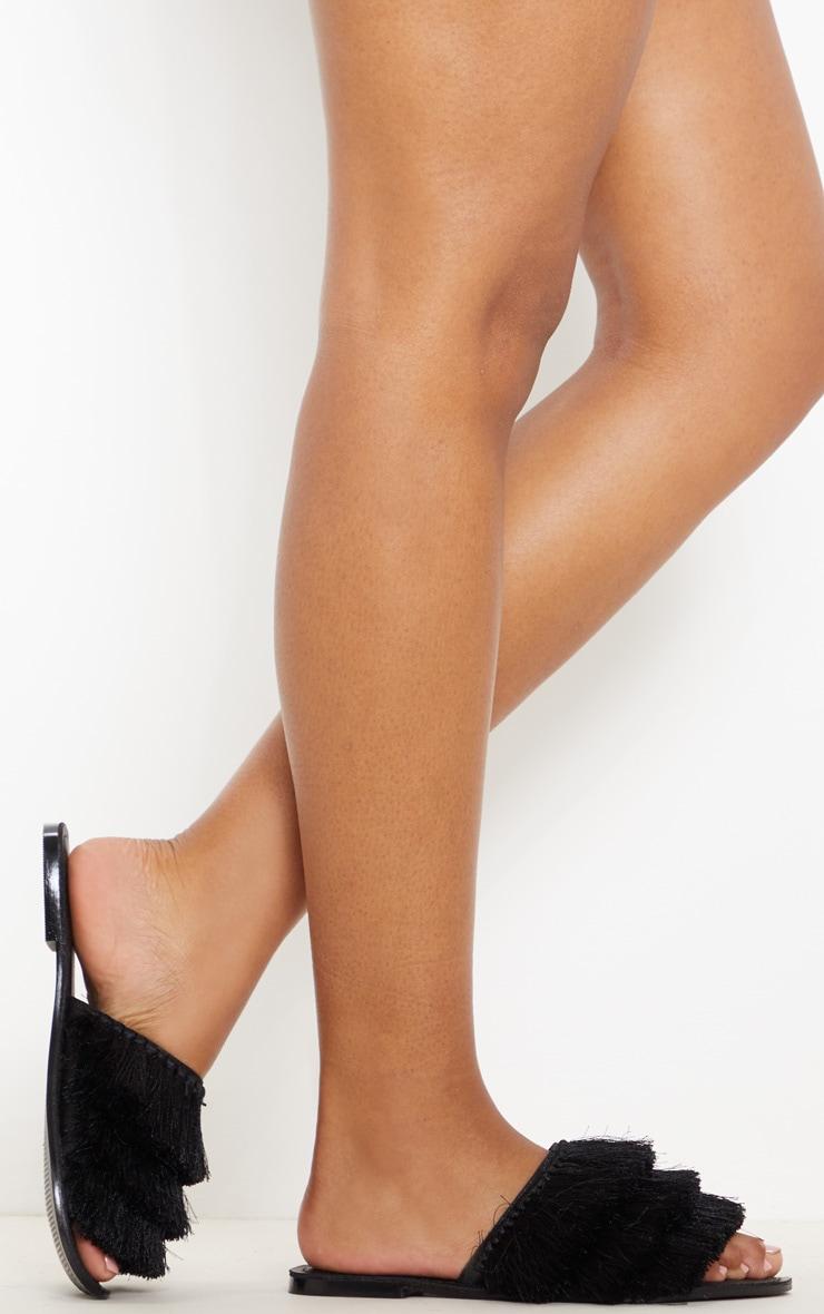 Black Fringe Mule Sandal 2