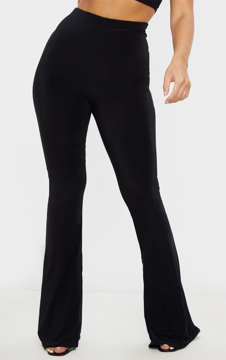 Black Flare Ruched Bum Slinky Trouser 2