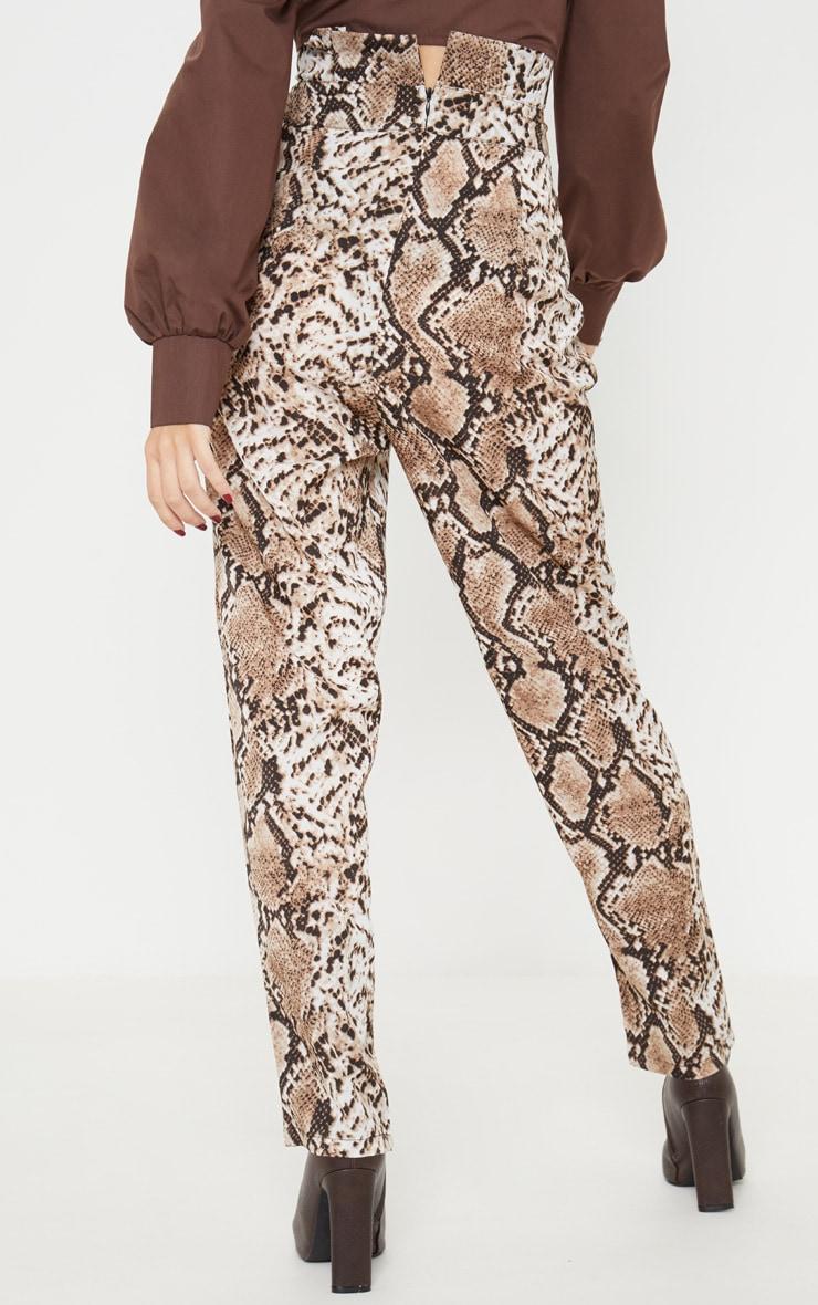 Brown Snake Print Paperbag Waist Tapered Leg Trouser 4