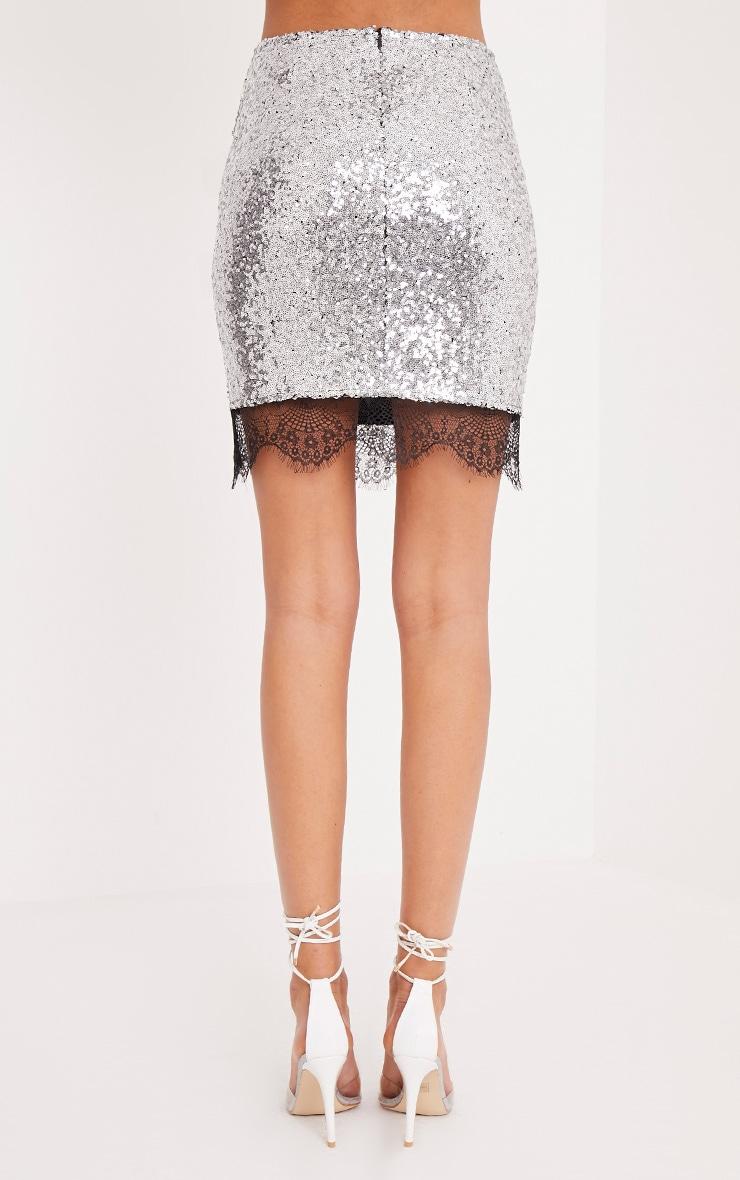 Aubriana Silver Sequin Lace Trim Mini Skirt  5