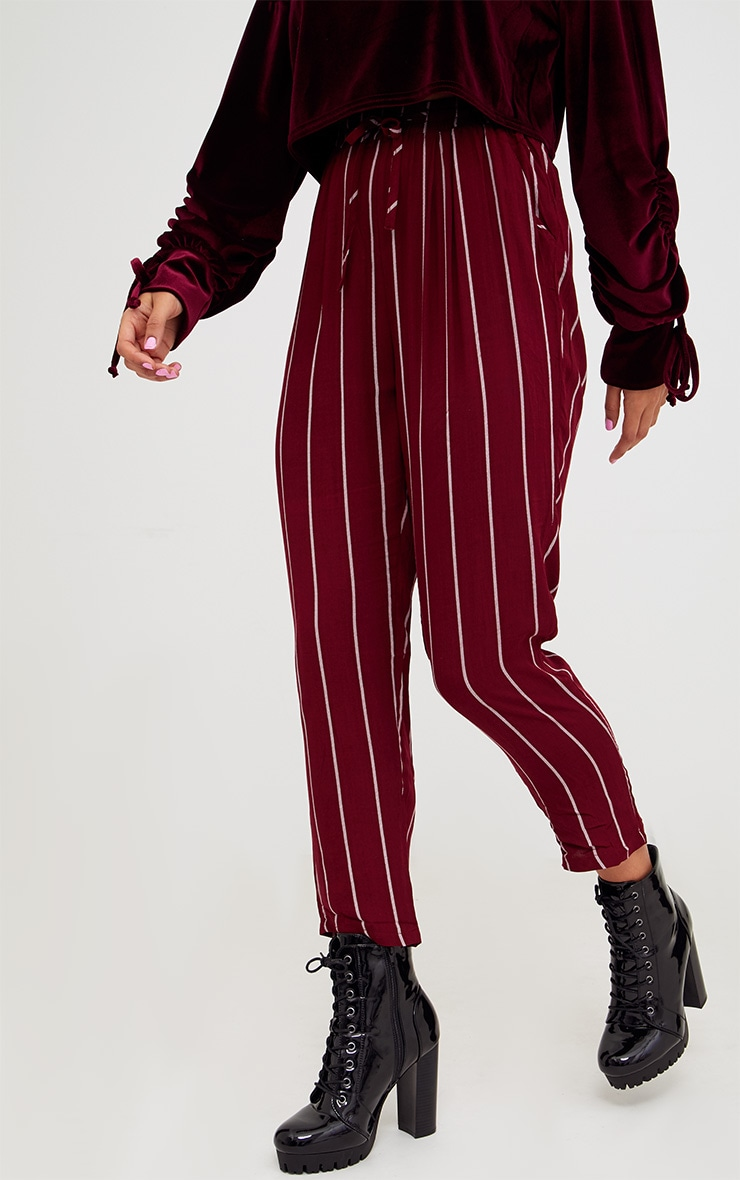 Burgundy Pinstripe Casual Trousers 2