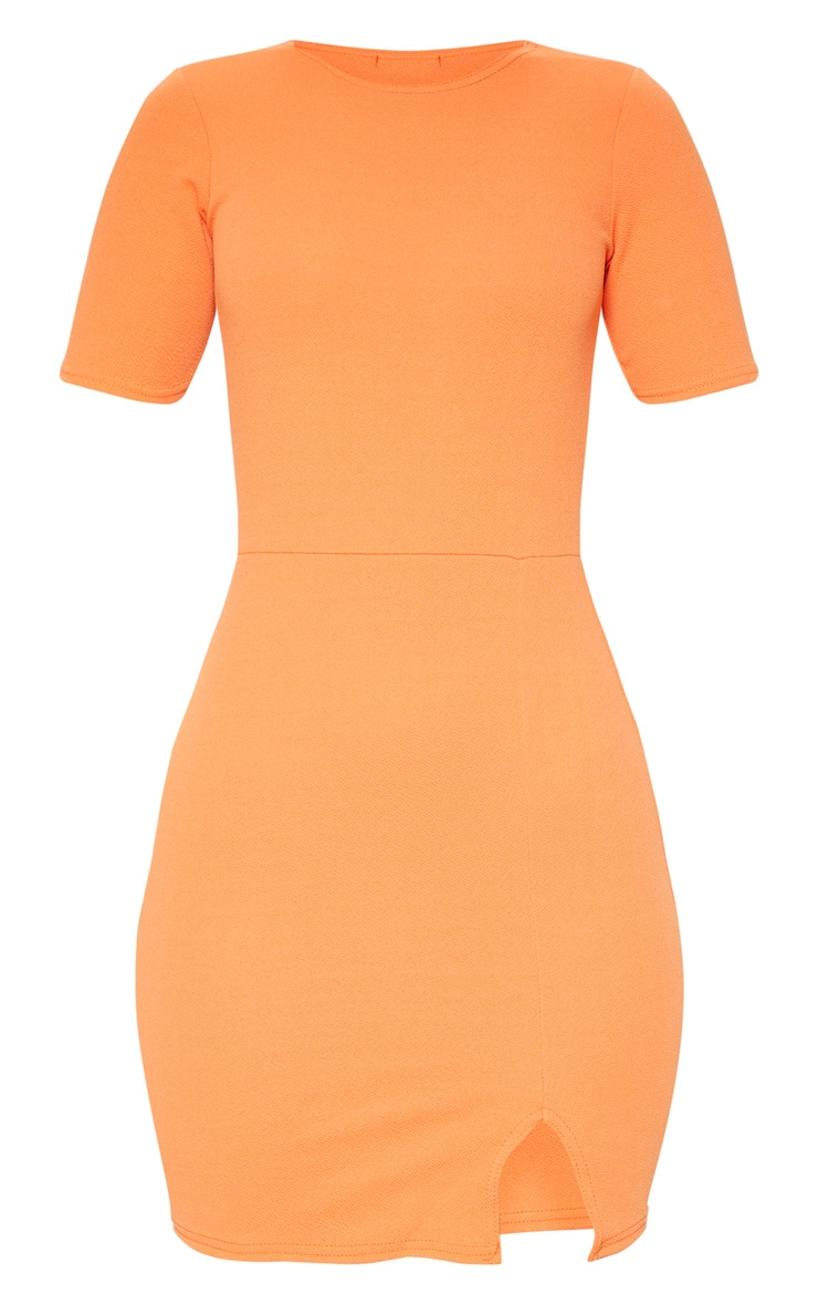 Orange Split Detail Short Sleeve Bodycon Dress 3