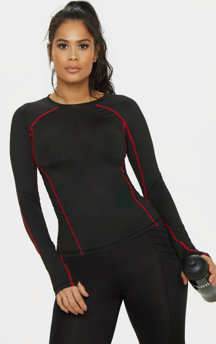 Black Contrast Stitch Long Sleeved Gym Top 1