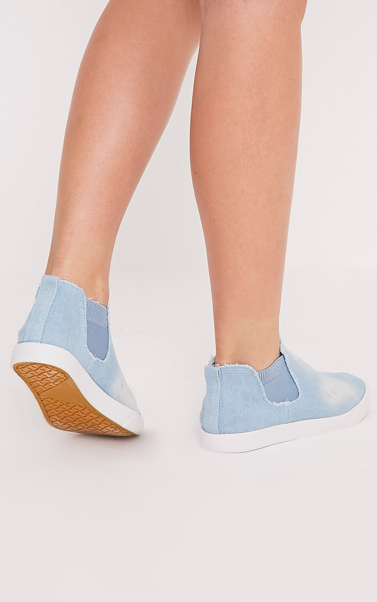 Gia Light Blue Wash Ripped Denim Slip on Trainers 2