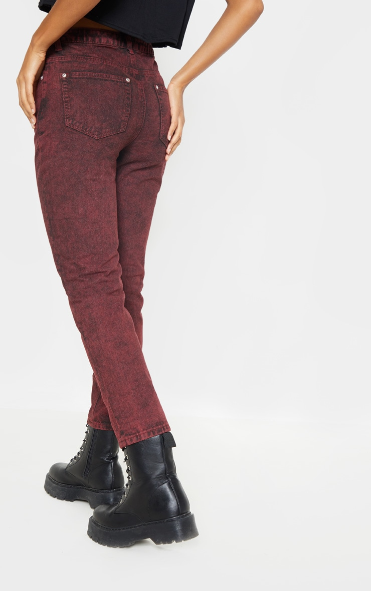 Acid Burgundy Straight Leg Jeans  3