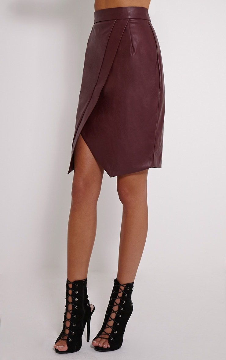 Greer Berry Faux Leather Wrap Midi Skirt 3
