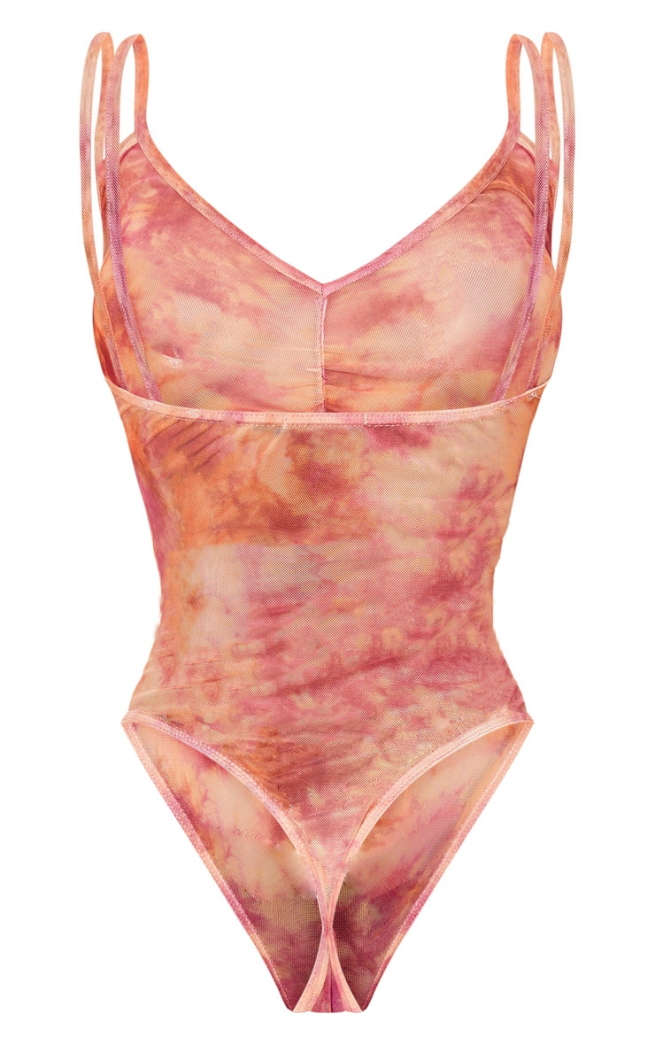 Pink Tie Dye Printed Strappy Plunge Bodysuit 4