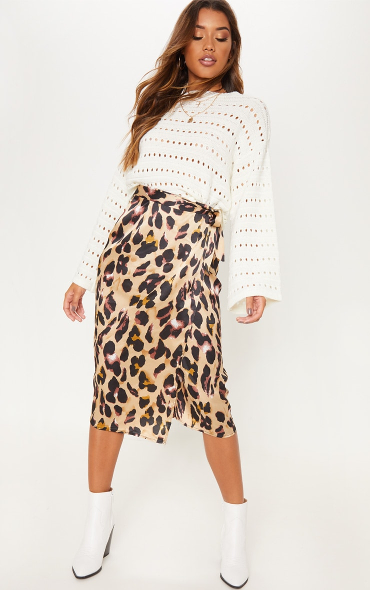 Leopard Print Wrap Midi Skirt image 1 878639bf5a7