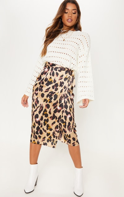 0aa68404aee4 Leopard Printed Wrap Around Midi Skirt