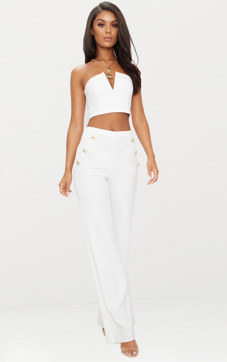 White Crepe V Bar Bandeau Crop Top 1