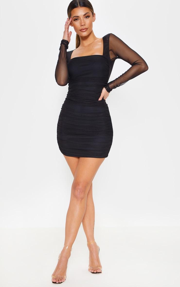 Black Mesh Long Sleeve Ruched Bodycon Dress