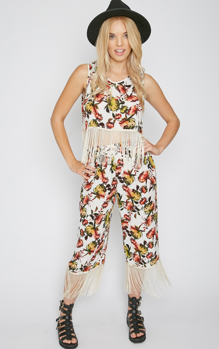 Tyra White Floral Print Tassel Trousers  5