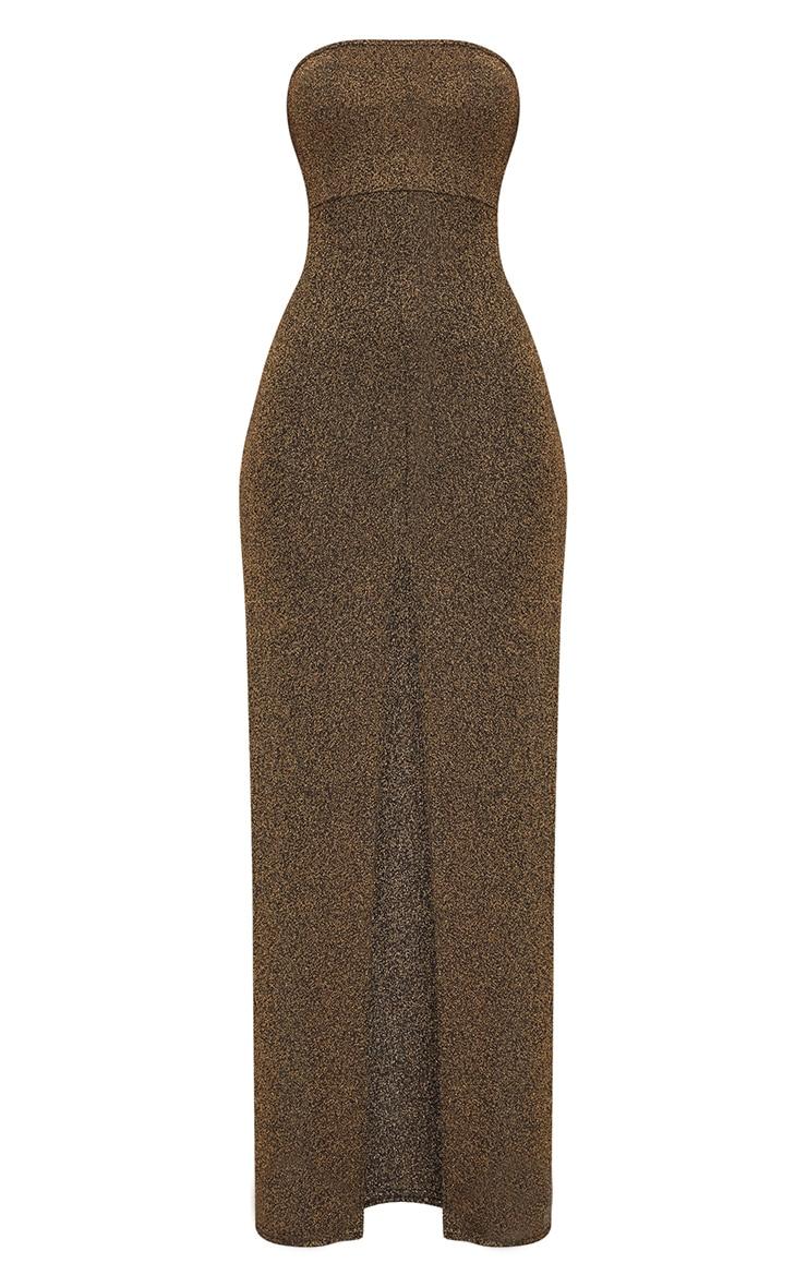 Gold Glitter Lurex Bandeau Maxi Dress 2