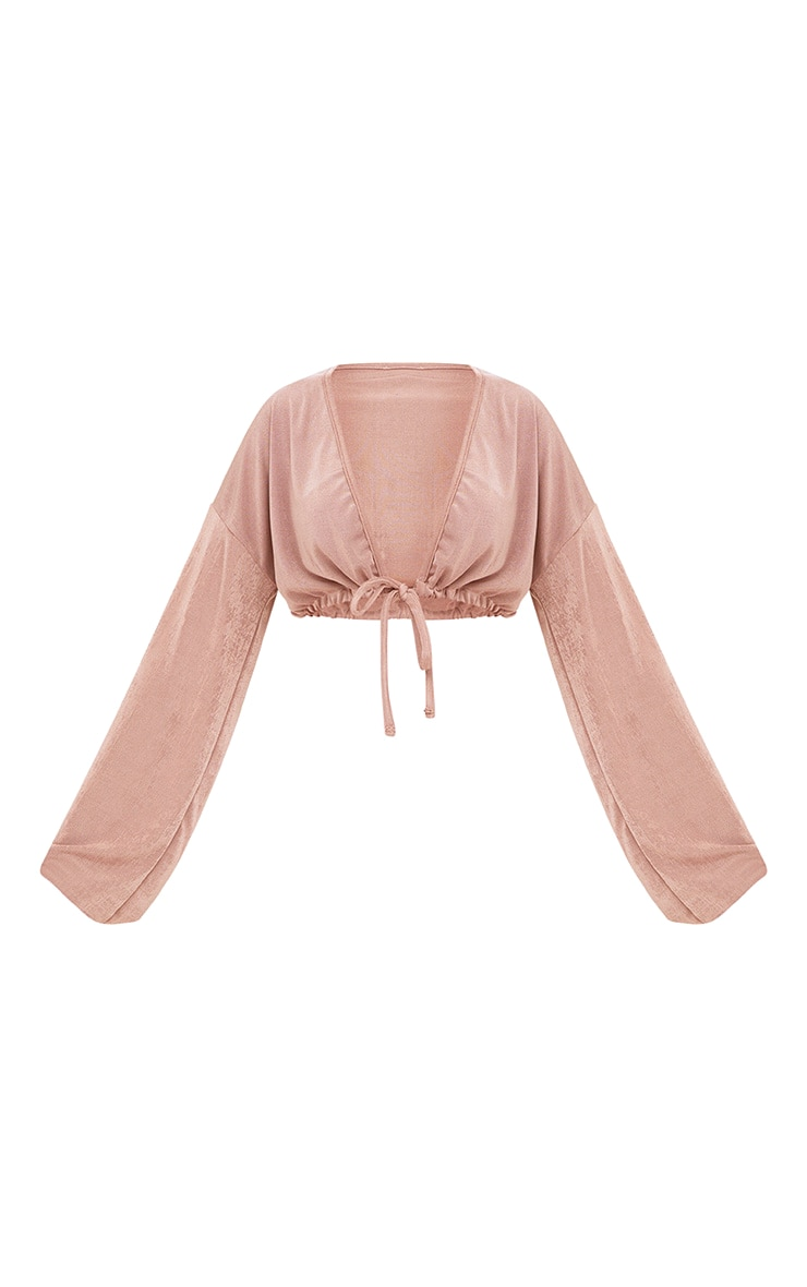 Blush Slinky Drawstring Blouson Sleeve Crop Top 3