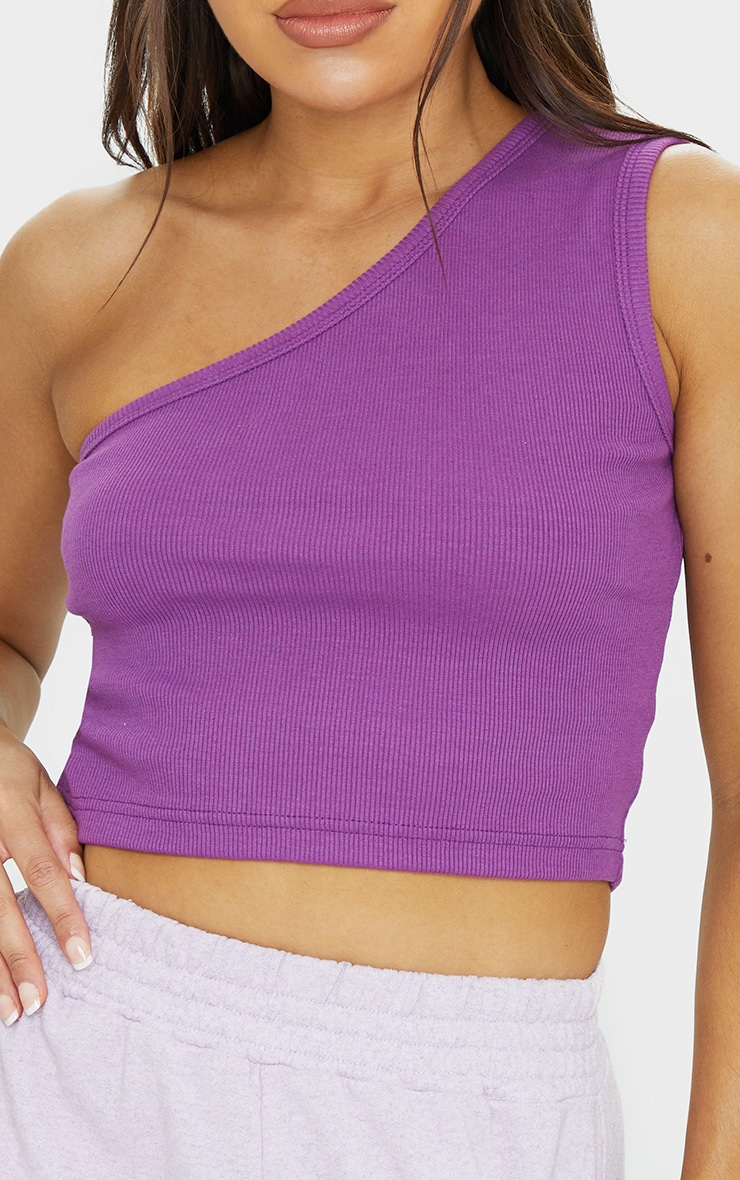 Purple Rib One Shoulder Crop Top 4