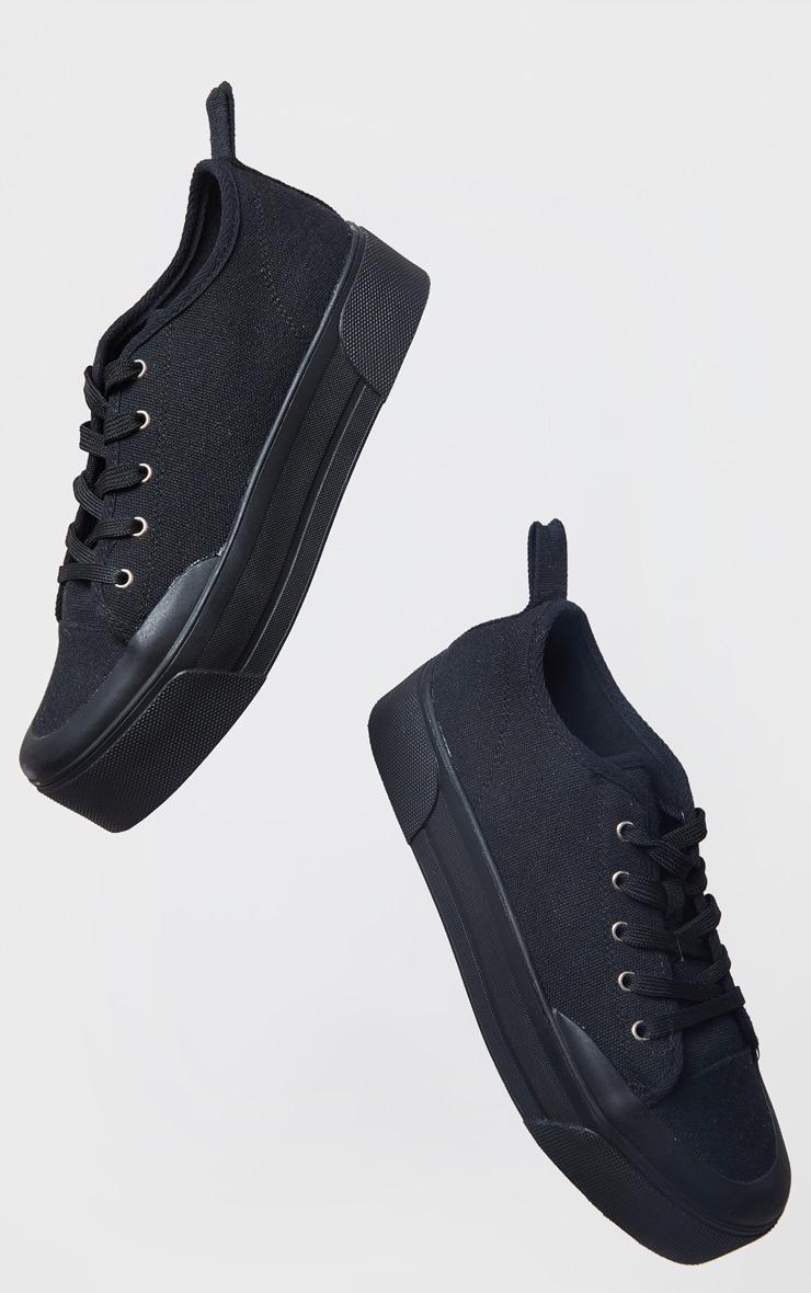 Black Flatform Lace Up Canvas Sneakers 2