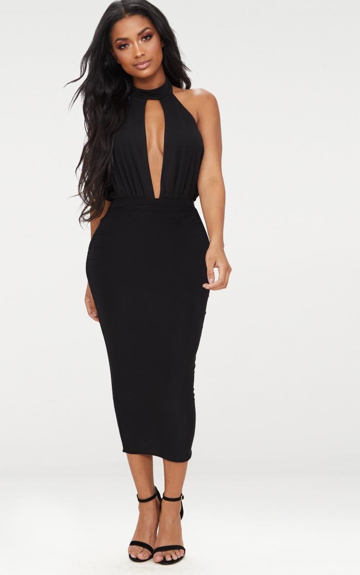 Shape Black Slinky High Neck Cut Out Bodysuit 5