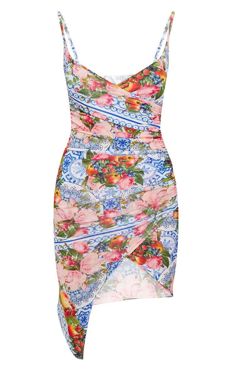 Blue Porcelain Fruit Print Wrap Midi Dress 3