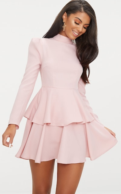 Wedding Guest Dresses With Sleeves.Dusty Pink High Neck Tiered Skater Dress