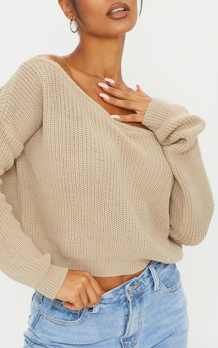 Stone Off The Shoulder Knitted Jumper 4
