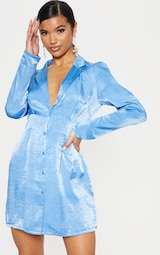 Bright Blue Button Front Collared Blazer Dress 1