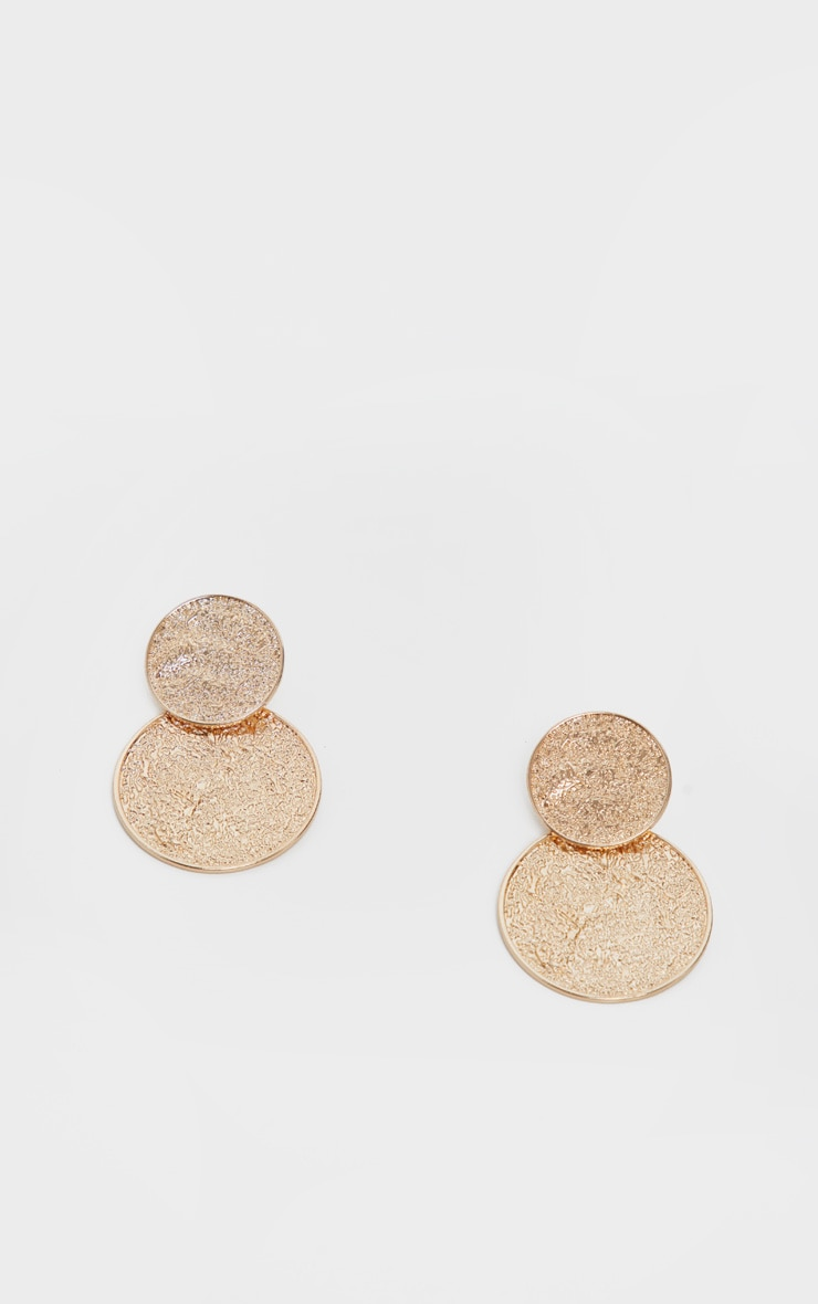 Gold Textured Double Disc Drop Earrings 2