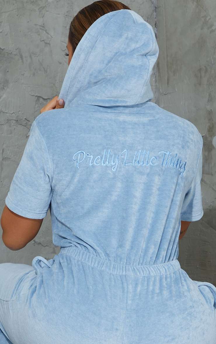 PRETTYLITTLETHING Shape Baby Blue Embroidered Velour Hooded Jumpsuit 4