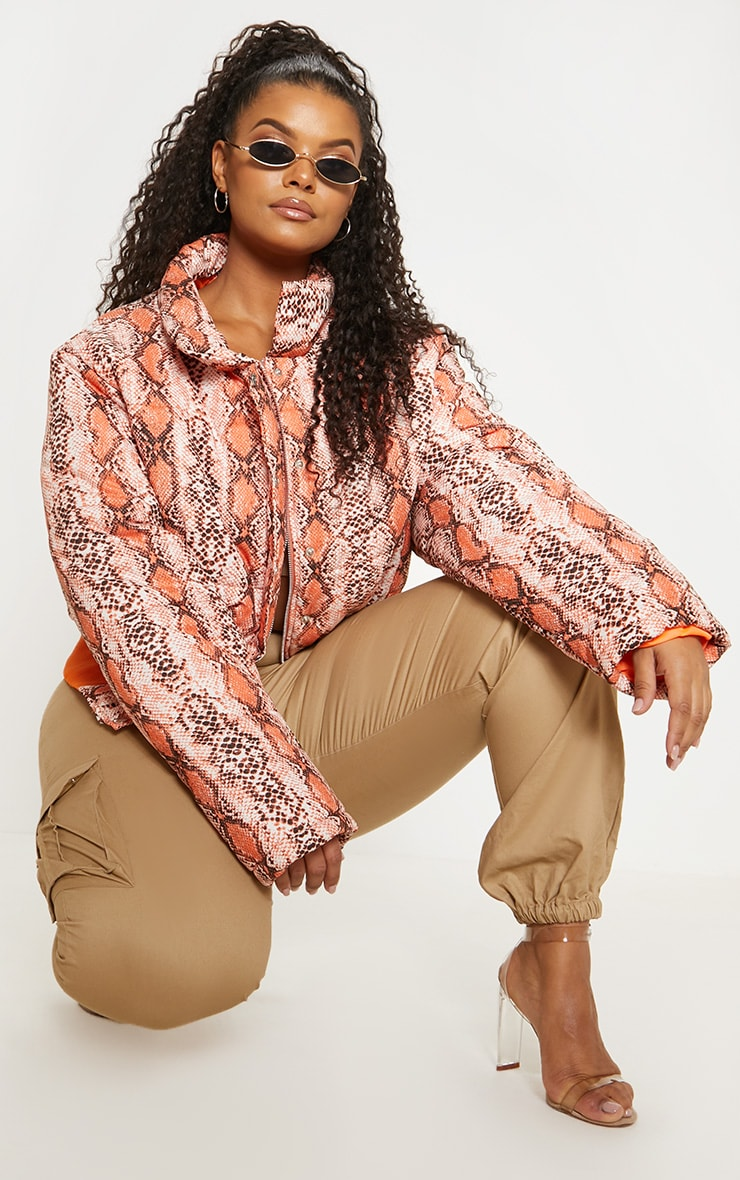 Plus Orange Snake Print Cropped Puffer 5