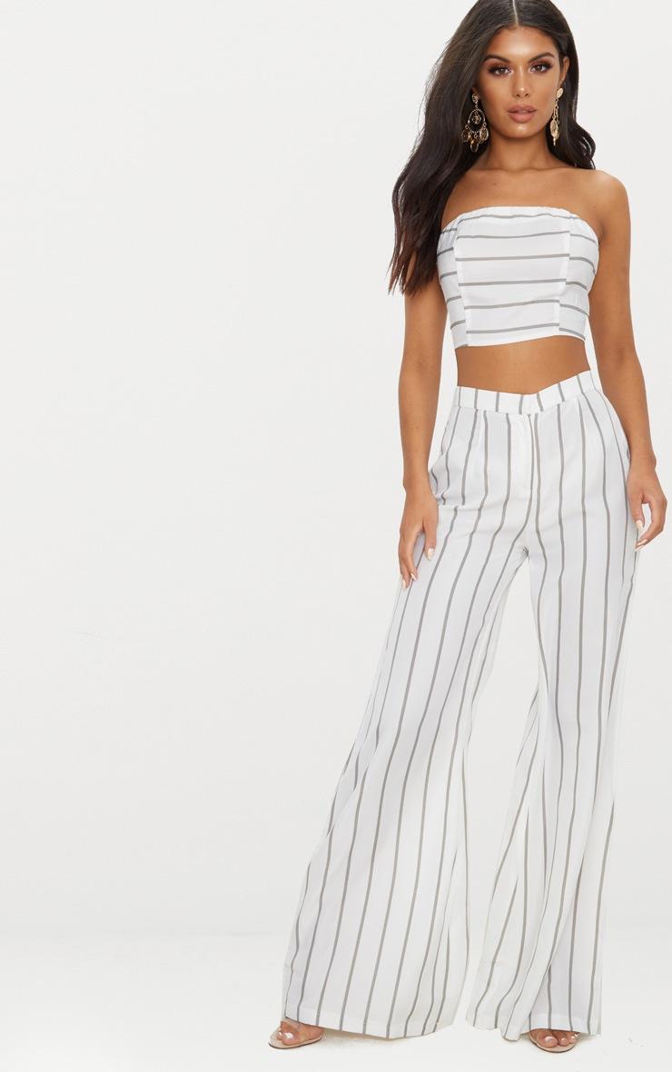 White Striped Wide Leg Trousers 1
