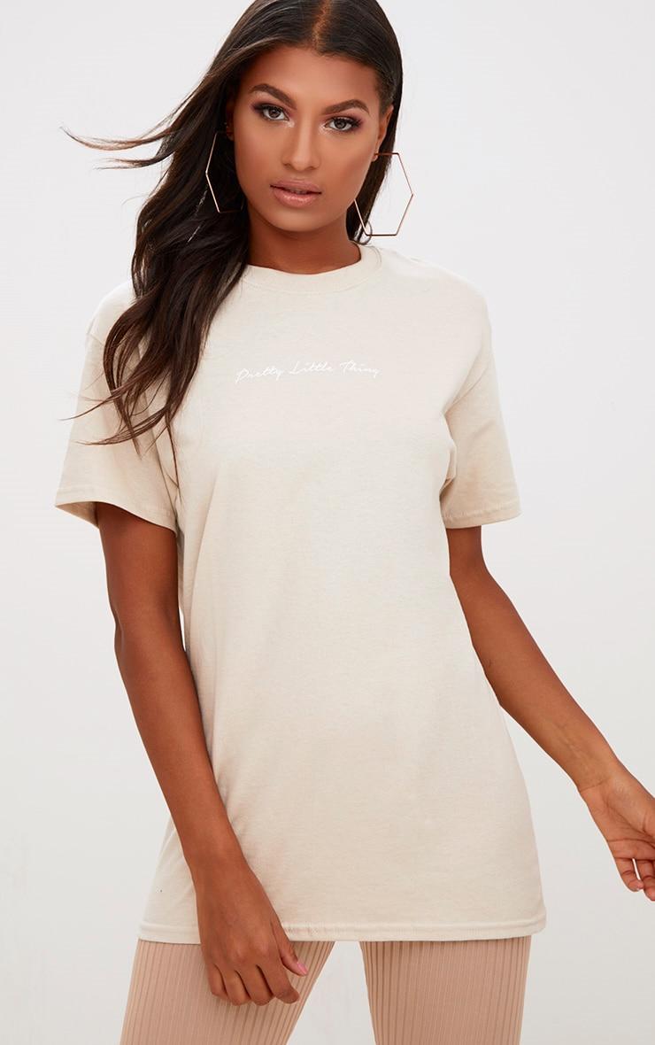 PRETTYLITTLETHING Sand Slogan Oversized T Shirt 2
