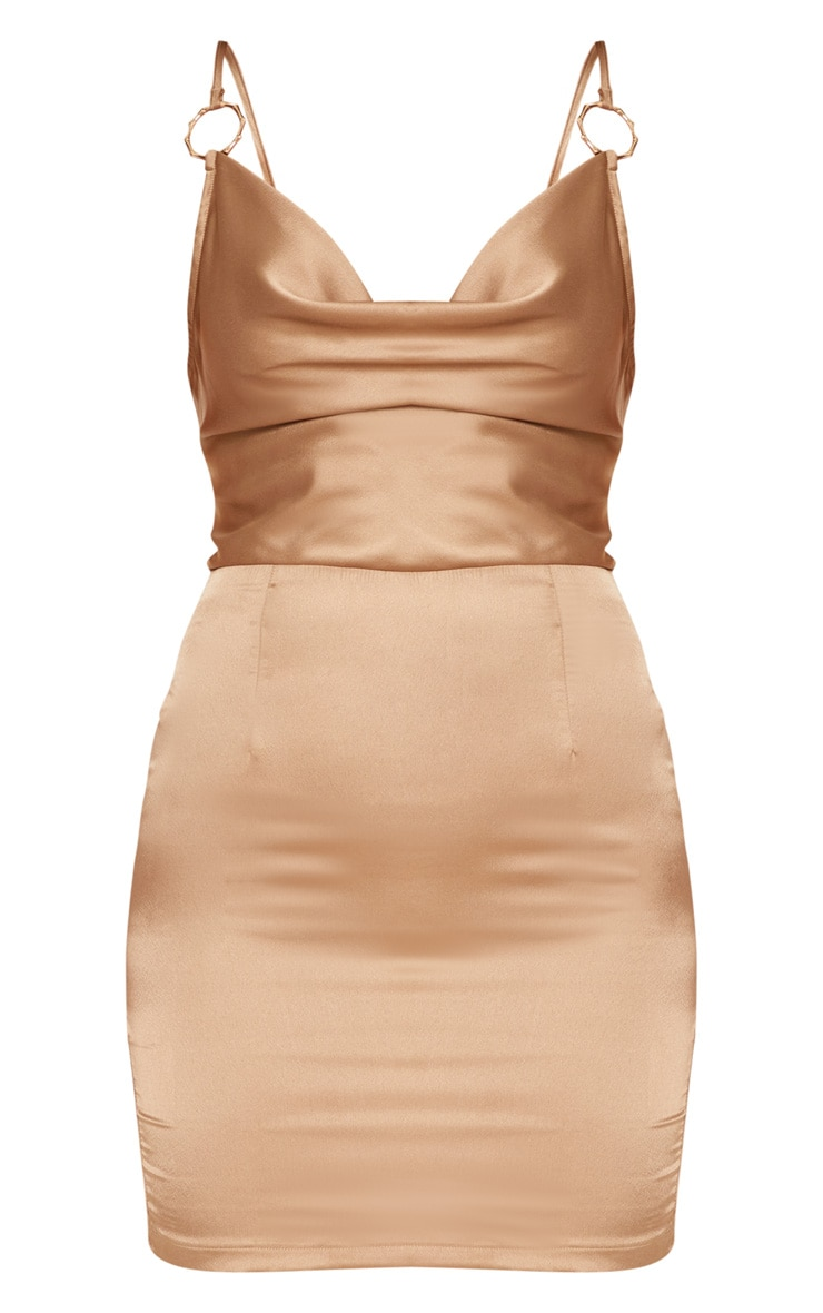 Champagne Satin Cowl Neck Ring Detail Bodycon Dress 4