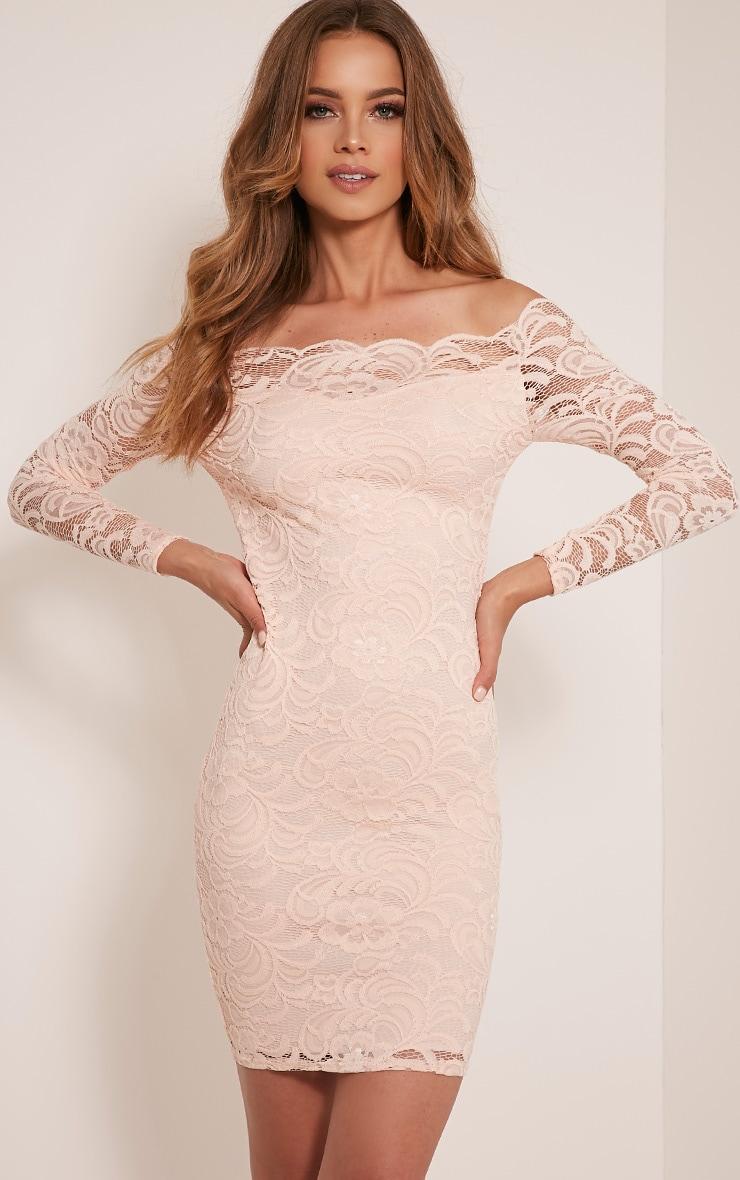 Alice Nude Bardot Lace Midi Dress 1