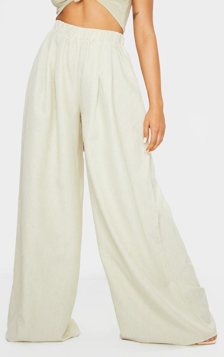 Khaki Linen Detail Print Wide Leg Pants 2