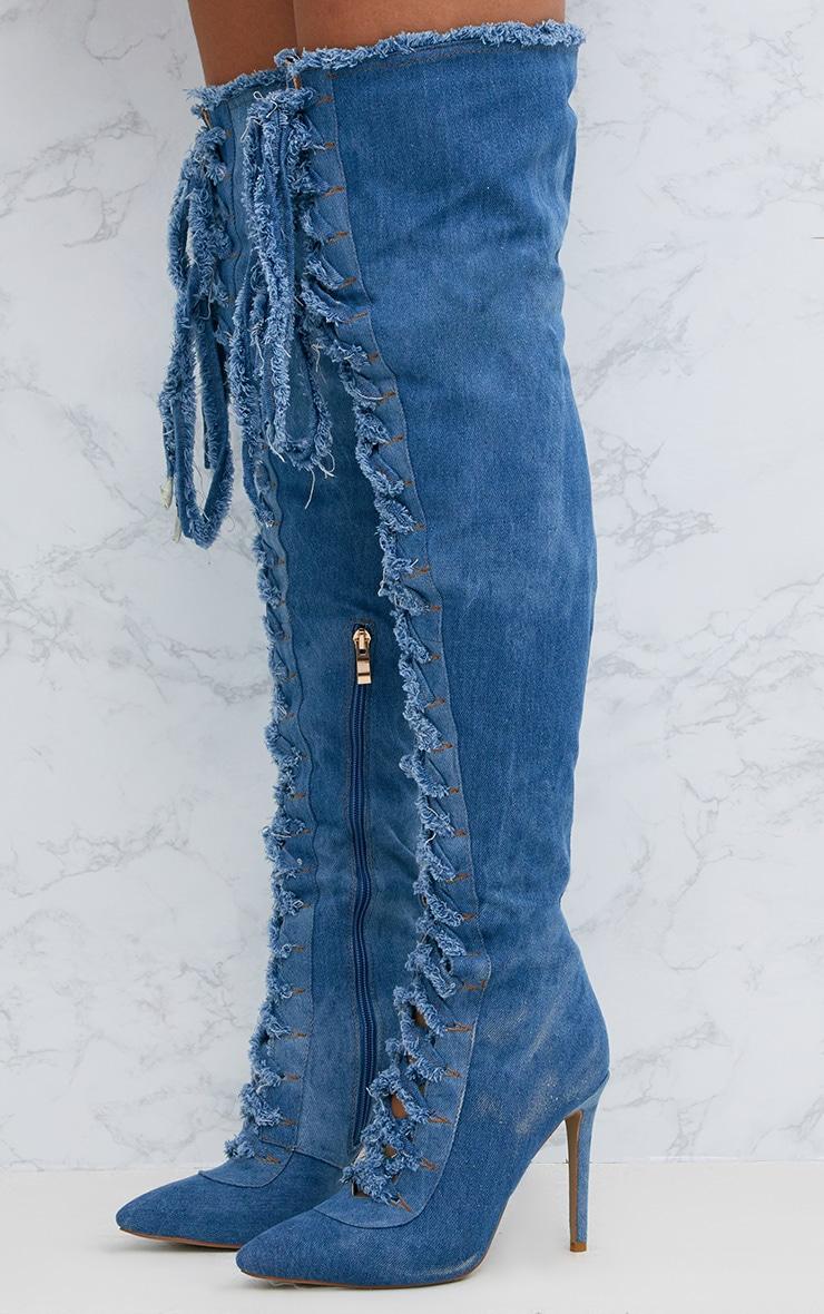 Blue Frayed Denim Lace Up Thigh High Boots 2