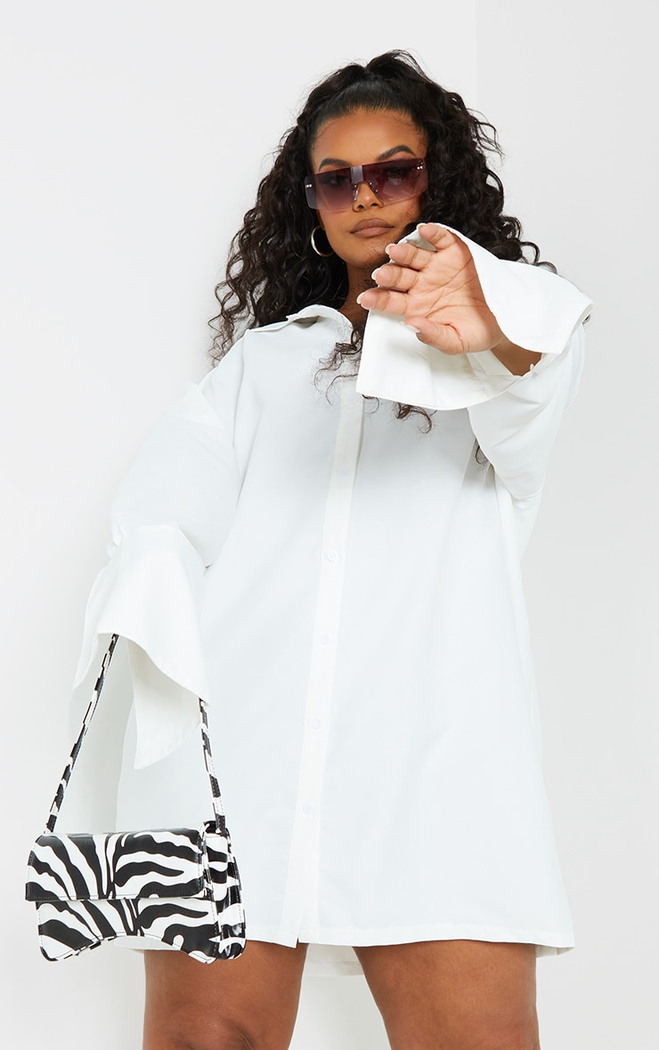 Plus White Plain Oversized Shirt Dress 3