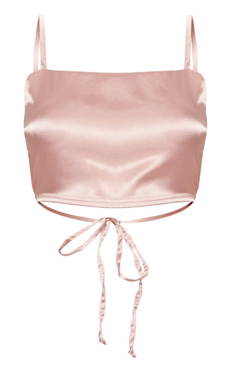 Rose Gold Satin Backless Strappy Crop Top 3