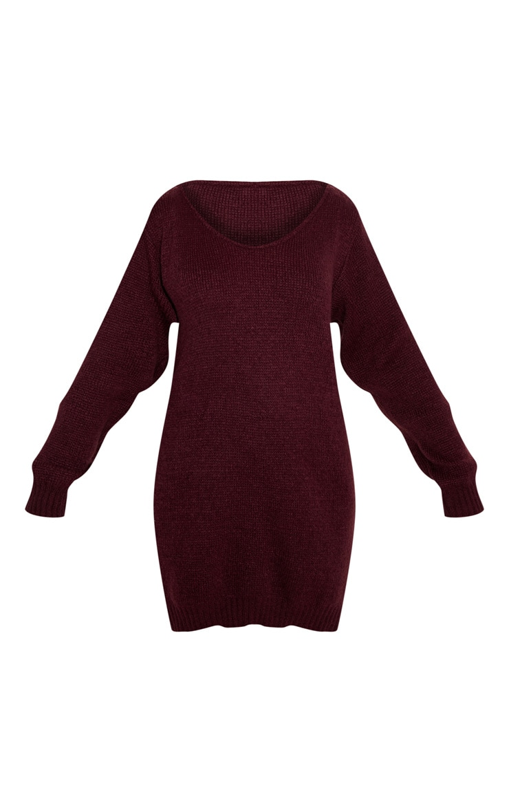 Burgundy Soft Knitted Off the Shoulder Mini Dress 3
