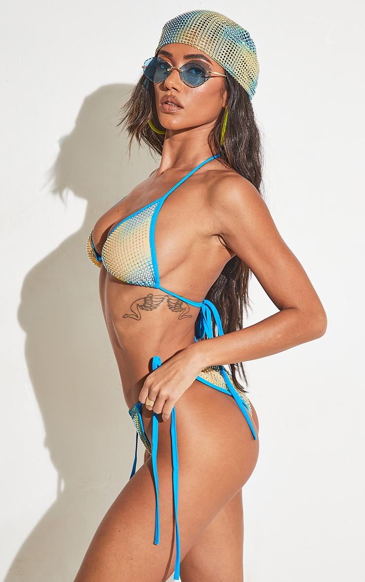 Turquoise Diamante Tie Side Bikini Bottoms 2