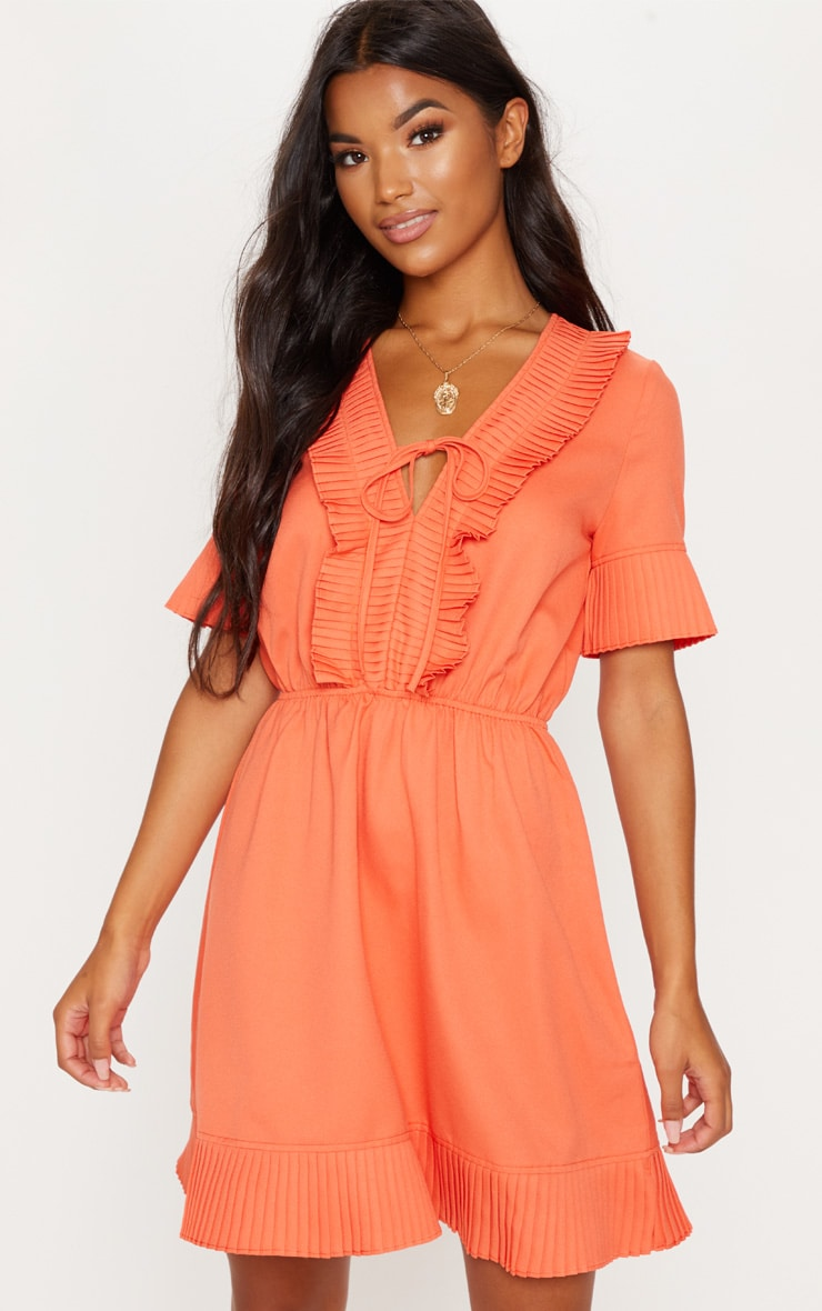 Orange Pleated Chiffon Skater Dress
