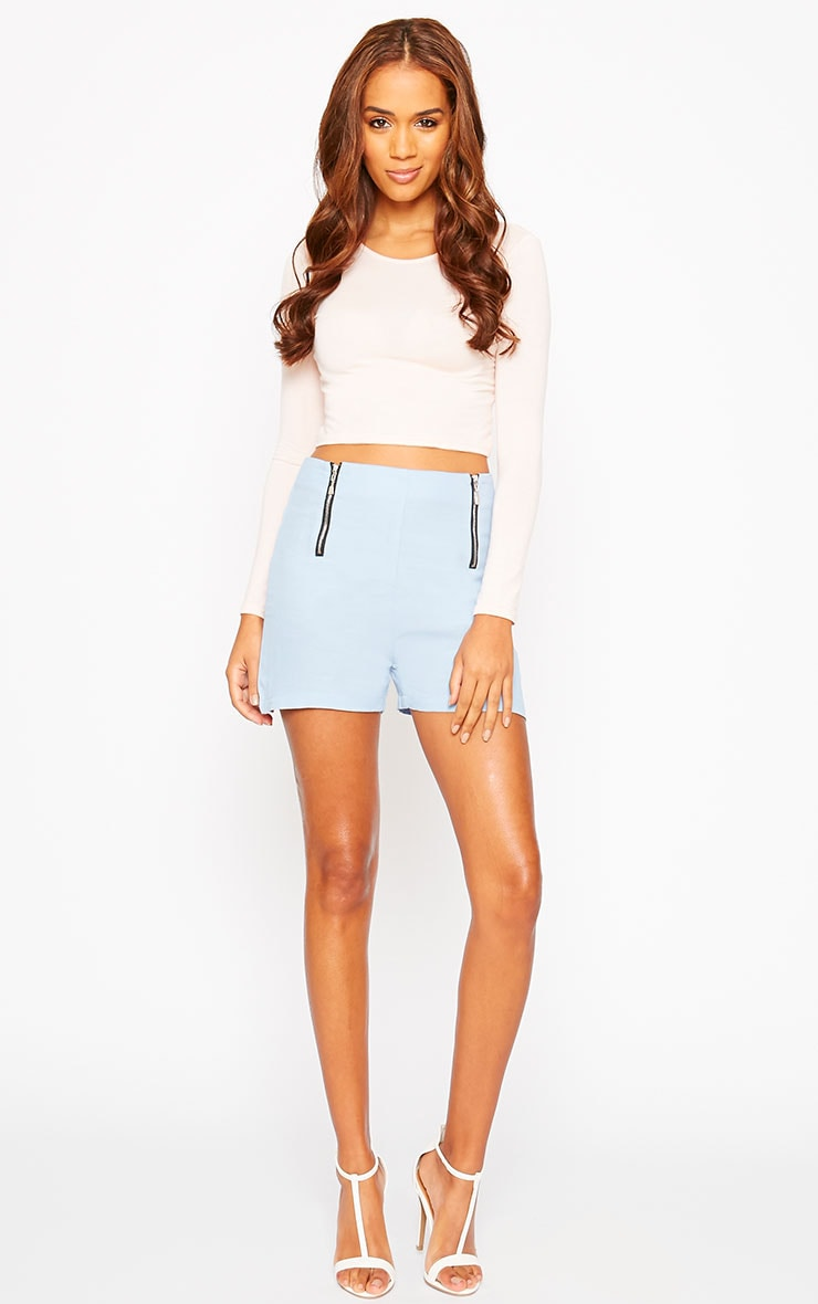 Mikkel Blue Zip Front Shorts 6