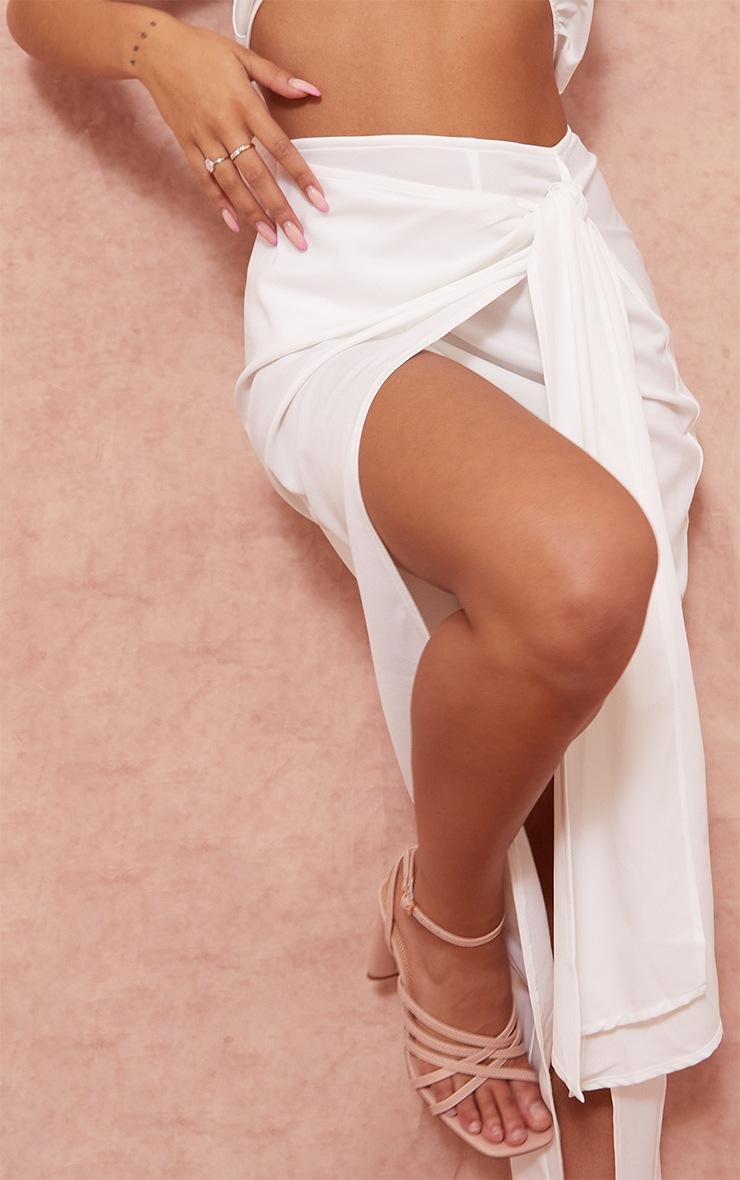 White Woven Tie Side Wrap Over Midi Skirt 4