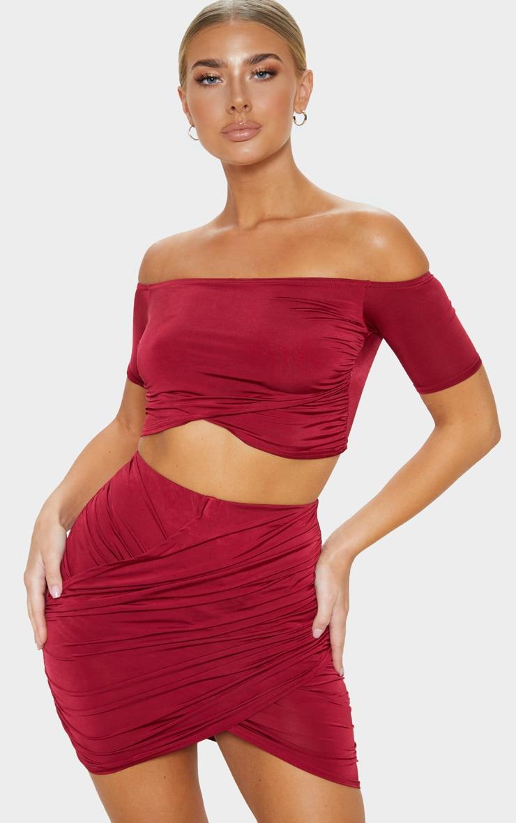 Wine Slinky Bardot Short Sleeve Crop Top 1