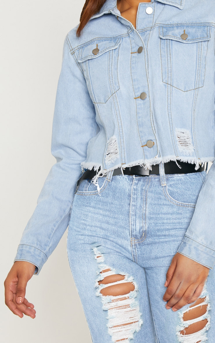 Tall Light Wash Cropped Denim Jacket 5