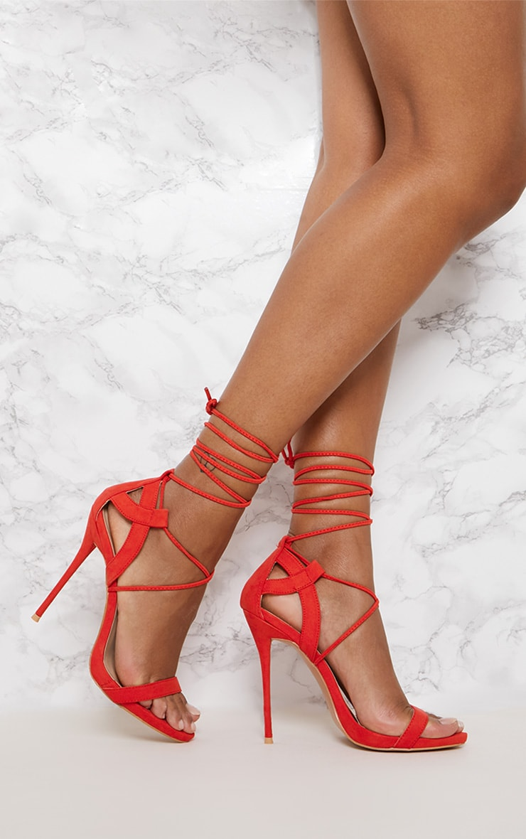 Red Lace up Sandals 1