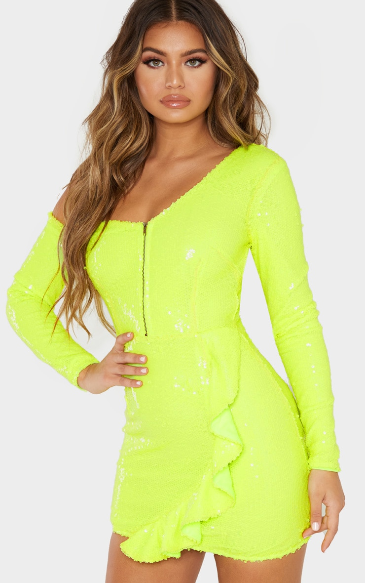 Neon Lime Sequin Asymmetric Sleeve Frill Bodycon Dress