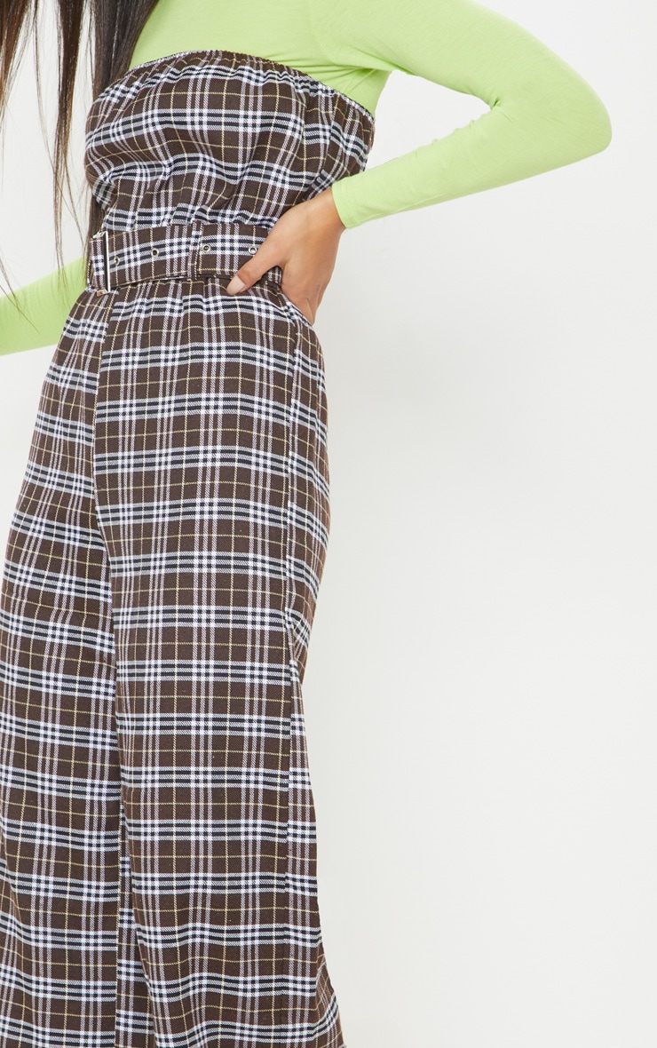 Chocolate Checked Belted Culotte Jumpsuit 5