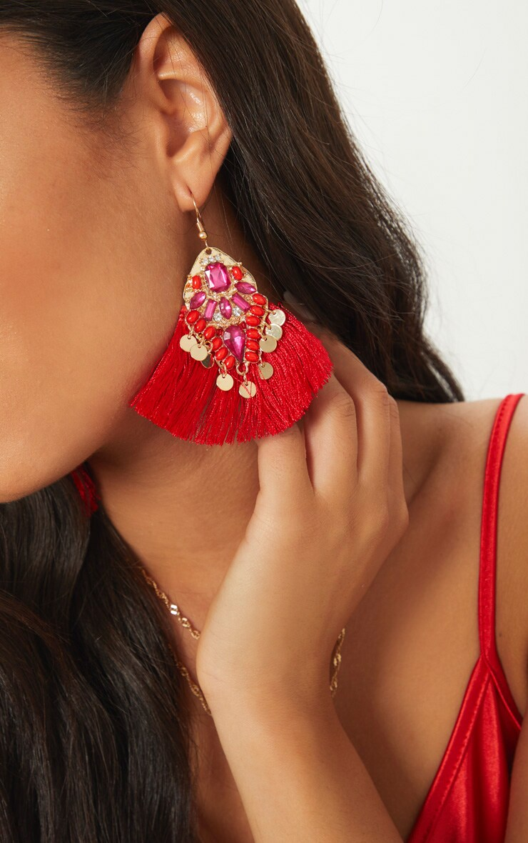 Red Gem Tassel Earrings 3