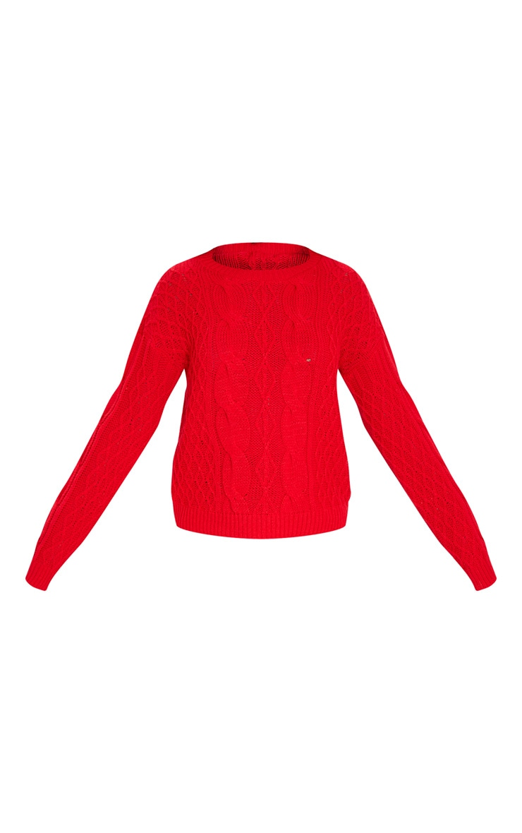 Red Slouchy Cable Knit Sweater 3