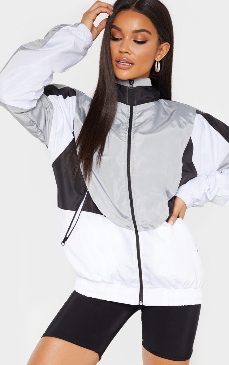 Veste de survêtement style coupe-vent blanche effet colourblock 1