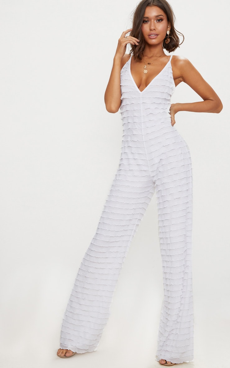 White Frill Strappy Plunge Jumpsuit 1